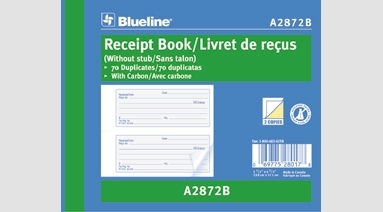 blueline charity receipt books with carbon 5 1 2 x 6 3 4 a2872b